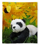 Baby Panda Under The Golden Sky Fleece Blanket