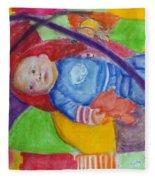 Baby Ted In Motion Portrait  Fleece Blanket