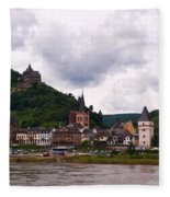 Bacharach Am Rhein And Burg Stahleck Fleece Blanket
