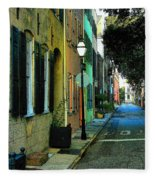 Back Street In Charleston Fleece Blanket