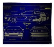 Back To The Future Delorean Blueprint 2 Fleece Blanket