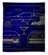 Back To The Future Delorean Blueprint 2 Fleece Blanket