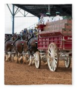 Back View Anheuser Busch Clydesdales Pulling A Beer Wagon Usa Fleece Blanket