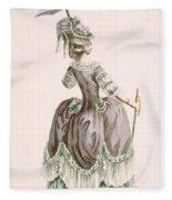 Back View Of Ladys Grey Promenade Fleece Blanket