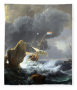 Backhuysen's Ships In Distress Off A Rocky Coast Fleece Blanket