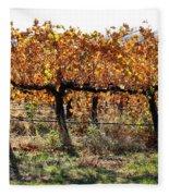 Backlit Autumn Vineyard Fleece Blanket