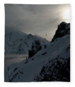 Backlit Skilift In Beautiful Landscape Fleece Blanket