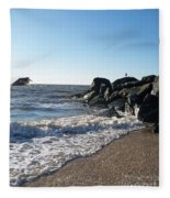 Backwash On Sunset Beach Cape May Fleece Blanket