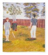 Backyard Cricket Under The Hot Australian Sun Fleece Blanket