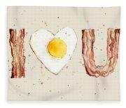 Bacon And Egg I Heart You Watercolor Fleece Blanket