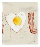 Bacon And Egg I Heart You Watercolor Fleece Blanket