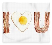 Bacon And Egg Love Fleece Blanket