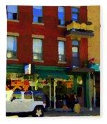 Bagels And Tea St Viateur Bakery And Davids Tea Room Montreal City Scenes Art Carole Spandau Fleece Blanket