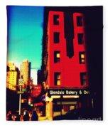 The Bakery - New York City Street Scene Fleece Blanket