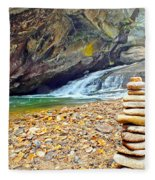 Balanced River Rocks At Birdrock Waterfalls Filtered Fleece Blanket