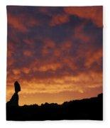 Balanced Rock Al Silhouette  Fleece Blanket