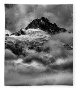 Balck And White Tantalus Peaks Fleece Blanket