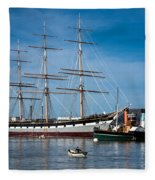 Rowing Past Balclutha And Steamship Eppleton Hall Fleece Blanket