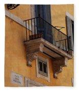 Balcony Piazza Della Madallena In Roma Fleece Blanket