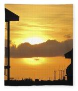 Key West Balcony Sunset Fleece Blanket