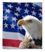 Bald Eagle And American Flag Fleece Blanket