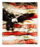 Bald Eagle Bursting Thru Flag Fleece Blanket