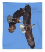 Bald Eagle Chase Over Pohick Bay Drb148 Fleece Blanket
