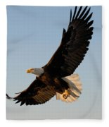 Bald Eagle Flying With Fish In Its Talons Fleece Blanket