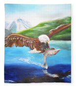 Bald Eagle Having Dinner Fleece Blanket