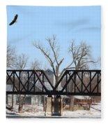 Bald Eagle Near Ludwig Mill Fleece Blanket