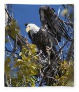 Bald Eagle On Nest Near The Oxbow Fleece Blanket