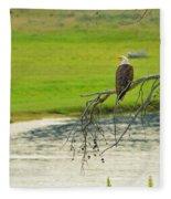 Bald Eagle Overlooking Yellowstone River Fleece Blanket