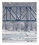 Bald Eagle With Fish By Railroad Bridge 6639 Fleece Blanket