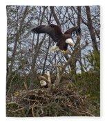 Bald Eagles At Nest Fleece Blanket
