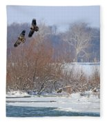 Bald Eagles At Providence Dam 1107 Fleece Blanket