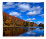 Bald Mountain Pond In Autumn Fleece Blanket