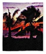 Bali Sunset Impasto Paint Version Fleece Blanket