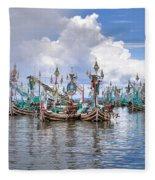Balinese Fishing Boats Fleece Blanket