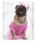 Ballerina Pug Dog Fleece Blanket