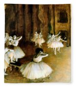 Ballet Rehearsal On Stage Fleece Blanket
