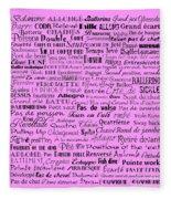 Ballet Terms Black On Pink  Fleece Blanket