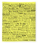 Ballet Terms Black On Yellow Fleece Blanket