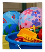 Balls And Toys In Buckets Fleece Blanket