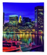 Baltimore Harbor By Night, Baltimore Fleece Blanket