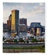 Baltimore Harbor Skyline Panorama Fleece Blanket