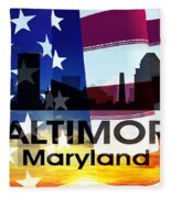 Baltimore Md Patriotic Large Cityscape Fleece Blanket