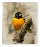 Baltimore Oriole Watercolor Art Fleece Blanket