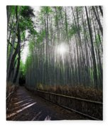 Bamboo Forest Path Of Kyoto Fleece Blanket
