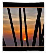 Bamboo Sunset - Black Frame Fleece Blanket