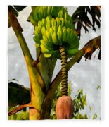 Banana Trees With Fruits And Flower In Lush Tropical Garden Fleece Blanket